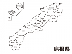 島根県(市町村別)の白地図のイラスト素材