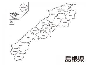 島根県(市町村別)の白地図のイラスト素材