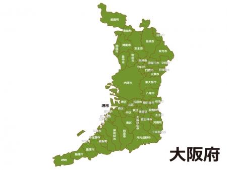 大阪府(市区町村別)の地図イラスト素材