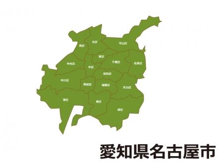 愛知県名古屋市(区別)の地図イラスト素材