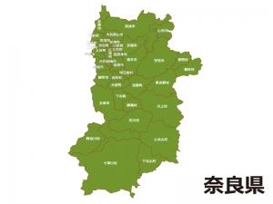 奈良県(市町村別)の地図イラスト素材