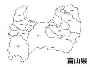 富山県(市町村別)の白地図のイラスト素材