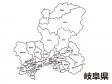 岐阜県(市町村別)の白地図のイラスト素材