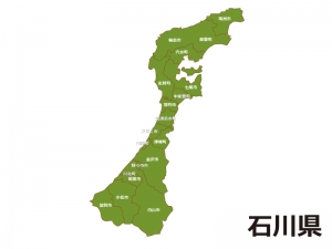 石川県(市町村別)の地図イラスト素材