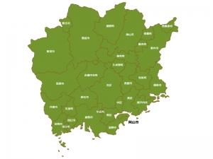 岡山県(市区町村別)の地図イラスト素材