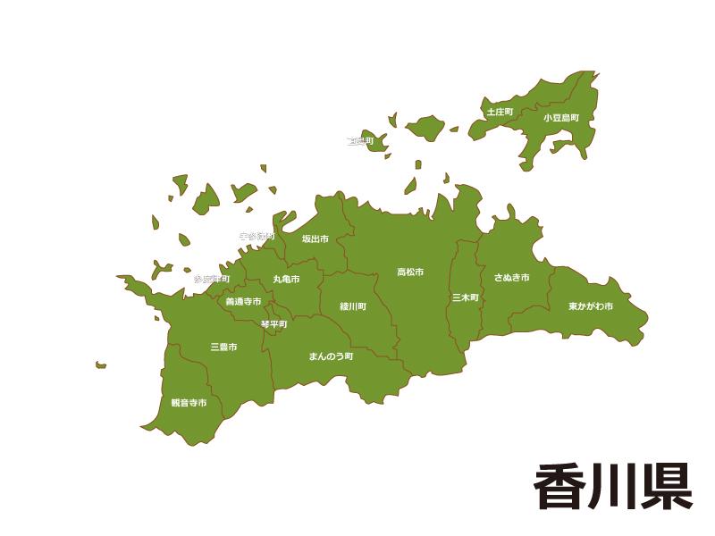 香川県(市町村別)の地図イラスト素材