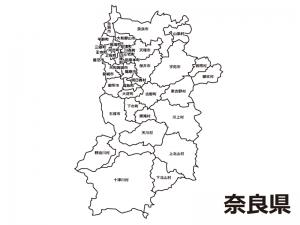 奈良県(市町村別)の白地図のイラスト素材