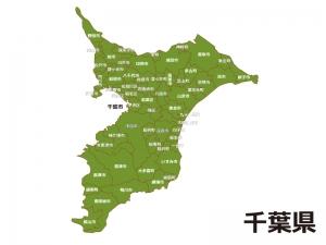 千葉県(市区町村別)の地図イラスト素材