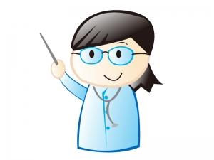 指し棒を持っている女性の医師のイラスト