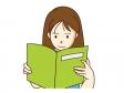 女性が本を読んでいるシーンのイラスト