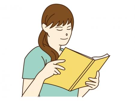 女性が本を読んでいるシーンのイラスト02