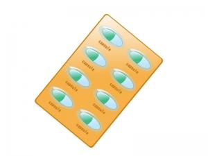 オレンジ色のカプセルタイプの薬のイラスト02