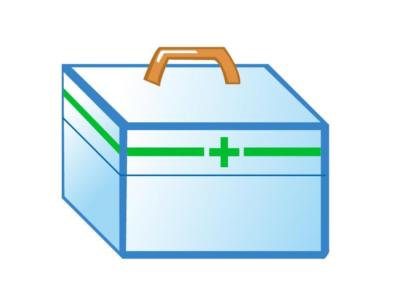 水色のシンプルな救急箱のイラスト