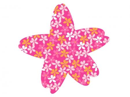 ピンク色とオレンジ色の小花の模様イラスト