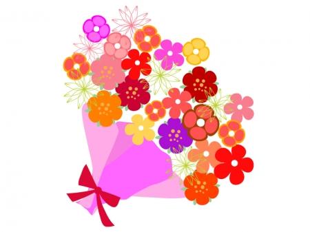 ポップでカラフルな花束のイラスト