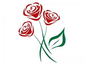 三輪のバラのイラスト02