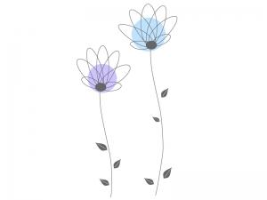 青色と紫色の小花のイラスト