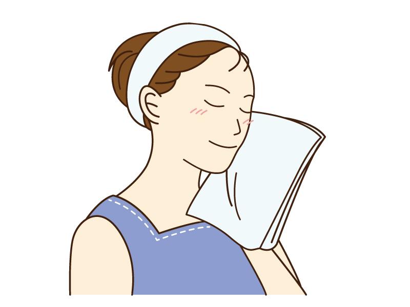 洗顔後に顔を拭いている女性のイラスト