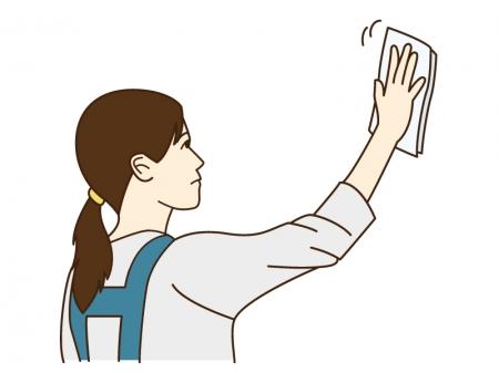 窓を拭いている女性のイラスト