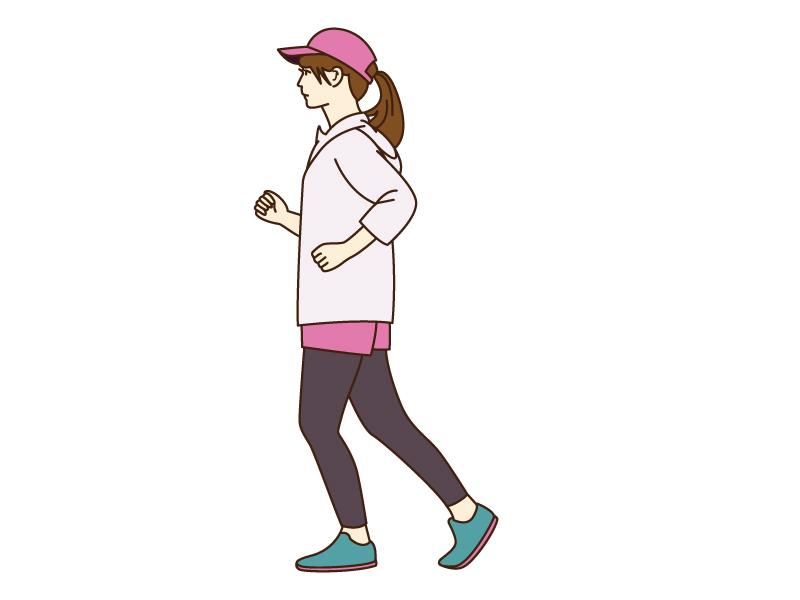 女性がジョギング(マラソン)をしているシーンのイラスト