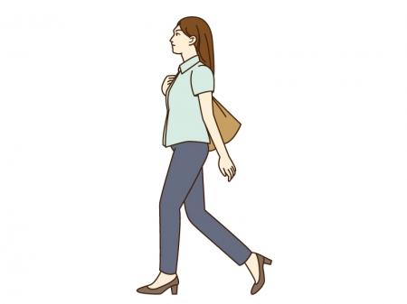 女性がウォーキングしているシーンのイラスト