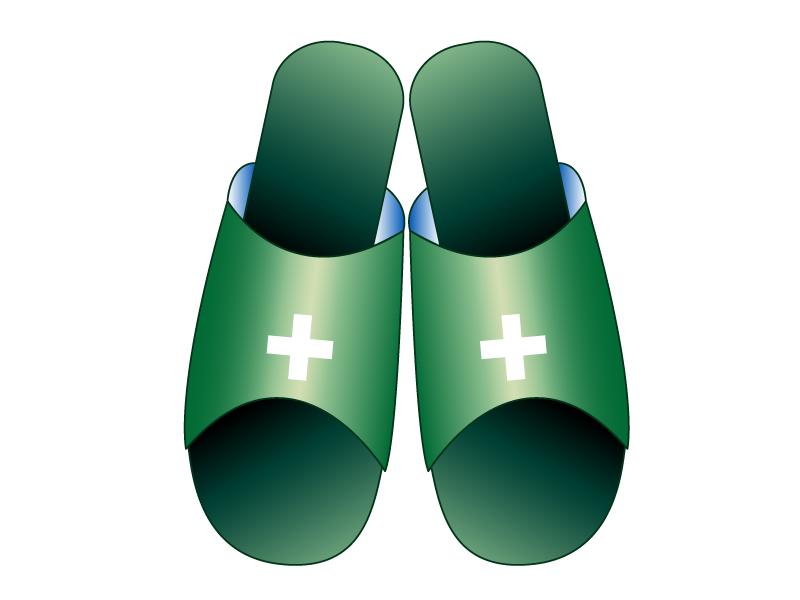 緑色の医療用スリッパのイラスト