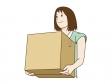 引っ越しで荷物を運んでいる女性のイラスト