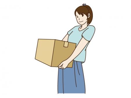 引っ越しで荷物を運んでいる女性のイラスト02