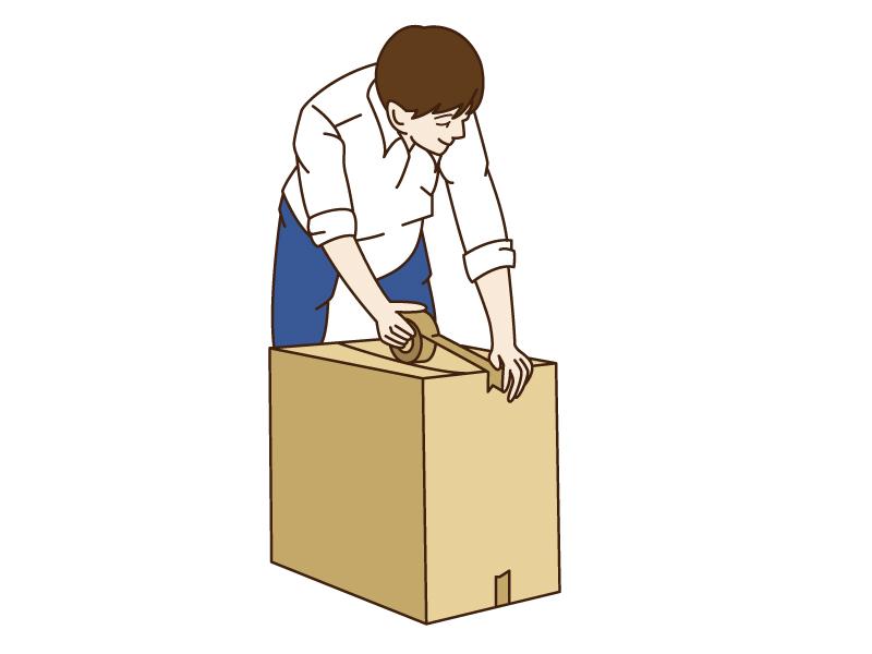 引っ越しで荷造りをしている男性のイラスト