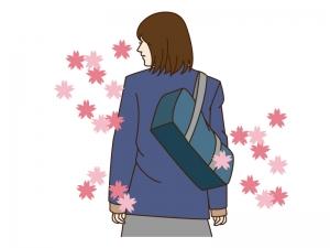 学校卒業・桜と学生のイラスト