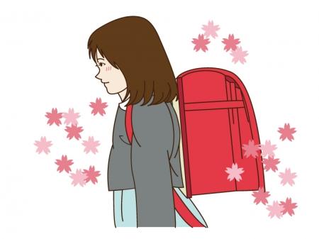小学生の女の子と桜のイラスト