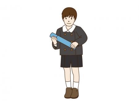 卒園と男の子のイラスト