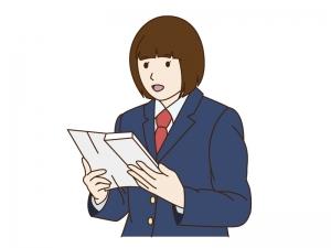 卒業式で答辞(送辞)を読む女の子のイラスト