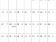 六曜付シンプル・2015年10月(平成27年)カレンダー・A4印刷用