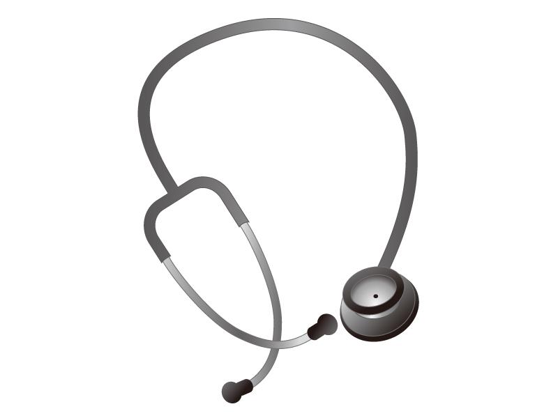 黒とシルバーの聴診器のイラスト