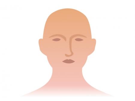 正面を向いている顔のイラスト