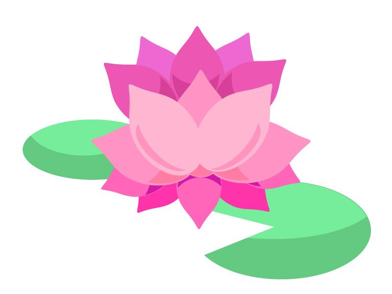 シンプルな蓮の花のイラスト