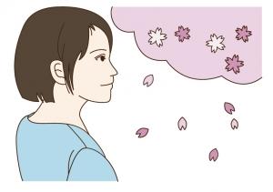 桜を見つめる女性のイラスト