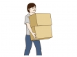 引っ越しで荷物を運んでいる男性のイラスト