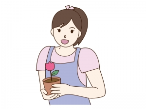 園芸(ガーデニング)をしている女性のイラスト