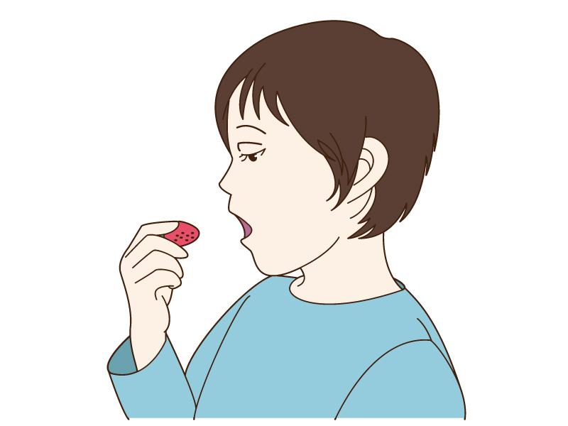 苺を食べている子供のイラスト