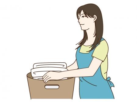 洗濯をしている女性のイラスト