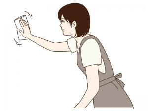布巾で掃除をしている女性のイラスト