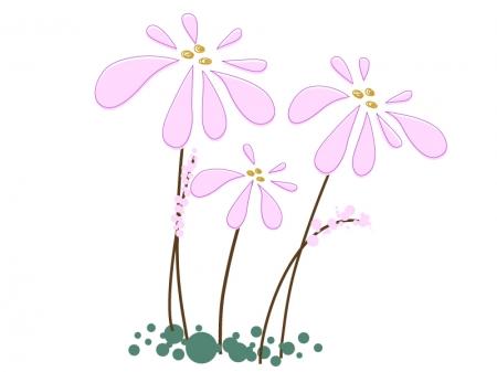 三輪のピンク色の小花のイラスト