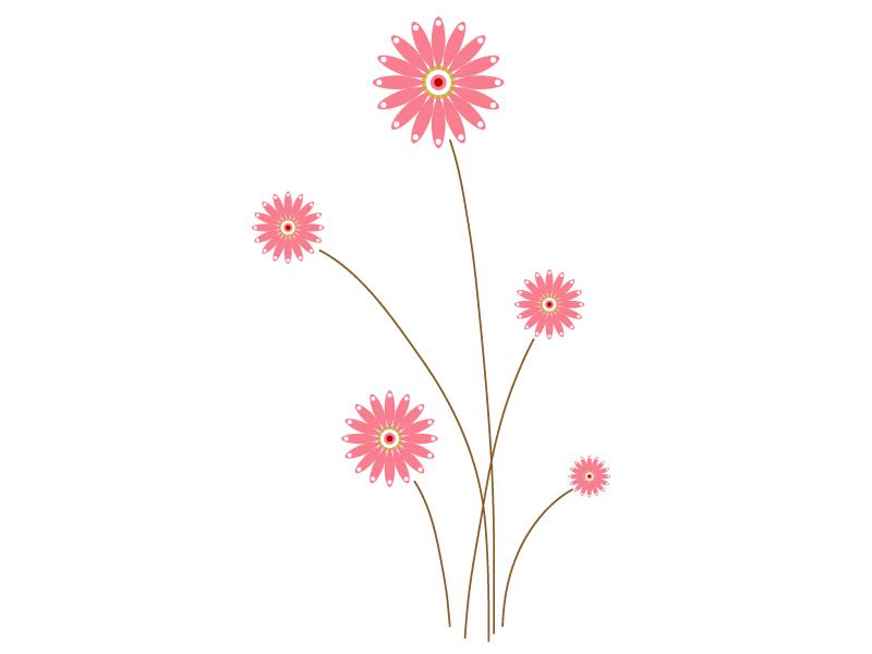 五つ咲いたピンク色の小花のイラスト