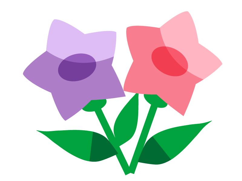 ピンク色と紫色の小花のイラスト