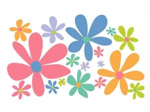 カラフルな小花のイラスト