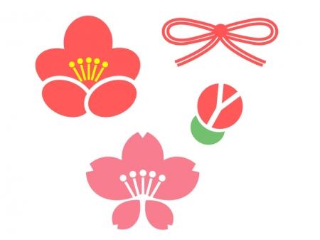 梅と桜のアイコンイラスト