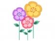 黄色・紫色・ピンク色の小花のイラスト