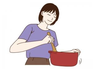 料理をしている女性のイラスト03
